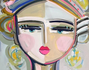 Warrior Girl Print woman art impressionist modern abstract girl paper or canvas Evie