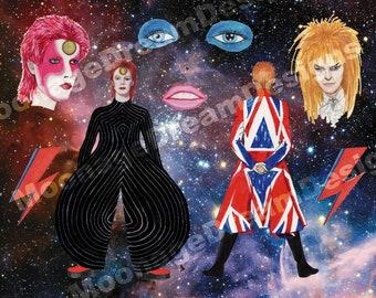Stickers intergalactique David Bowie (Ziggy Stardust, labyrinthe, la vie sur Mars, terrien)