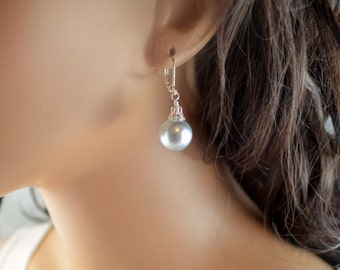 Holiday Earrings, Pale Silver - Blue, Large Glass Pearls, Christmas Balls, Ornaments, Silver Plated Lever Earwires, Fun Jewelry