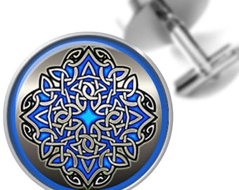Cufflinks Celtic Knot Design in Blue and Silver Handmade Cuff Links