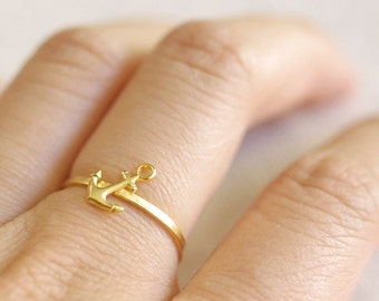gold anchor ring . tiny anchor ring . silver anchor ring . anchor stacking ring . simple anchor ring . nautical jewelry