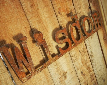 Wisdom, Metal Word Art for Indoors or Outoors