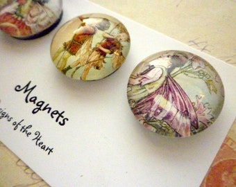 Round Glass Magnet set - Fairy Collection