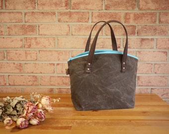 Waxed Canvas Zipper Tote in Olive Brown - Vegan Day Bag (Made to Order)