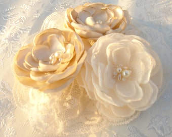 Ivory Champagne Bridal Flower Brooch OR Hair Clip Bridal Flower Hair Clip with Pearls Crystals Champagne Hair Accessory