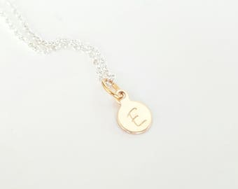 Tiny Gold Initial Necklace - Bridesmaid Necklace - Dainty - Personalized Necklace - Mother's Necklace - Rose Gold Necklace - Sterling Silver