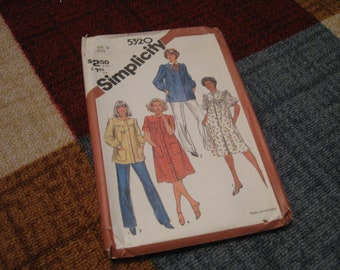 Vintage Simplicity Pattern 5320 Size 14 UNCUT FACTORY FOLDED Misses' Smocks In Two Lengths 1980s Clothing 1981