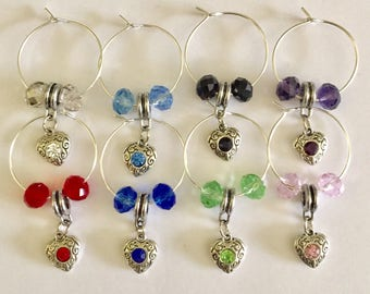 Set of 8 OOAK European Rhinestone Heart Beaded Dangle Wine Glass Charms, Barware, Stocking Stuffers,Bunco Prizes, Tasting Party Favors