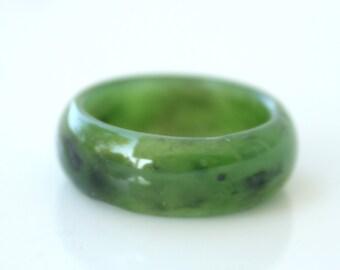 Green Jade Ring - Thick Band - Simple Band Ring