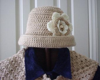 Womens Crochet Hat Crochet Hat Neutral Crochet Flower Hat Crochet Bucket Hat Crochet Hat Woman Crocheted Womans Hat Gifts for Her