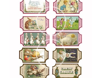 Vintage Bunny Easter Tickets, DIY Easter Tags, Easter Collage sheet, Instant Download, Cards, Scrapbook clip art, craft supplies, printable