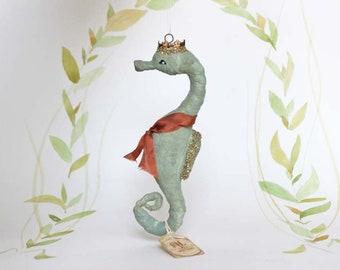 Spun cotton ornament Christmas seahorse