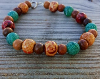 Boho bracelet, boho chic bracelet, bohemian bracelet, hippy bracelet, gypsy bracelet, wood bracelet