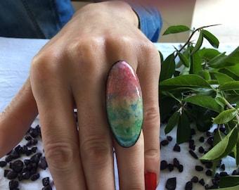 Ceramic Ring Ceramic Jewelry - big ring, unique ring, handmade ring,adjustable ring