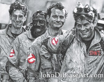 "Egon, Winston Peter and Ray ""Marshmallow Heroes"" Ghostbusters Drawing Print"