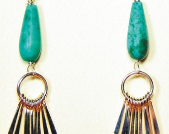 Sterling Silver Teardrop & Graduated Paddle Earrings with Turquoise Teardrops
