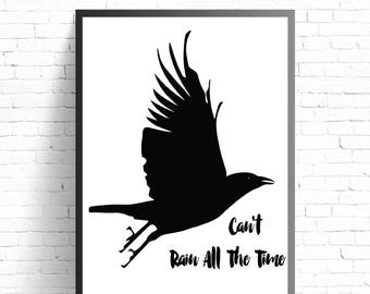 Black Crow Typography Poster, The Crow Quotation Print, Black Crow Wall Art, Black Bird Poster Print, Bird Wall Art, Modern Wall Art