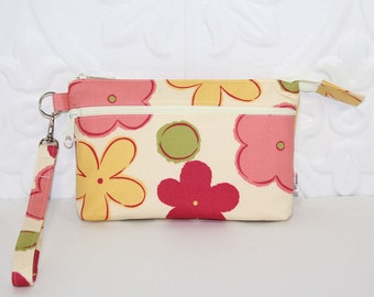 Cell Phone Wristlet Purse Wallet Clutch / Moto X Samsung Galaxy iPhone 6 Wristlet Clutch Wallet Purse / Large Floral on Ivory