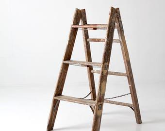 old wooden ladder, vintage painter's ladder, wood folding ladder