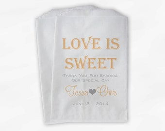 Love Is Sweet Wedding Candy Buffet Treat Bags - Personalized Favor Bags in Peach and Gray - Custom Paper Bags (0069-6)