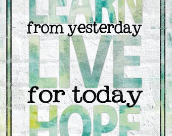 Learn Live Hope - 11 x 14 Typography Word Art Print