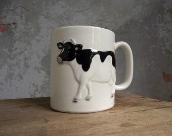 Vintage Otagiri Cow Mug , Black and White Cow Coffee Mug , Porcelain Otagiri Cup , Farmhouse Decor , Collectible Otagiri Kitchen Decor