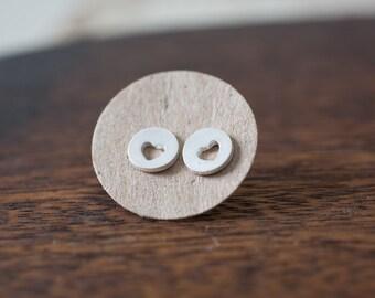 Simple Heart Studs - Tiny Heart Stud Earrings Silver - Valentine Jewelry - Mini Jewelry - Bridal Jewelry Valentine Gift