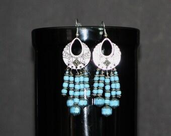 5 Strand Light Turquoise Silver Earrings,5 Strand Earrings,light turquoise earrings,Southwest Style Earring,Southwest Style Silver Earrings