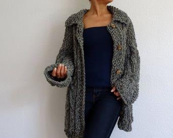 knit cardigan, bulky cardigan, gray cardigan, cable knit cardigan, braided cardigan, knit jacket, knit sweater, gray, wool, mother's gift