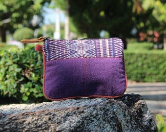 Small Purple Coin purse   Coin wallet  Tribal Zippered Pouch   Ethnic Wallet   Womens Purse   Vegan Coin purse   Mens Wallet   Womens Wallet