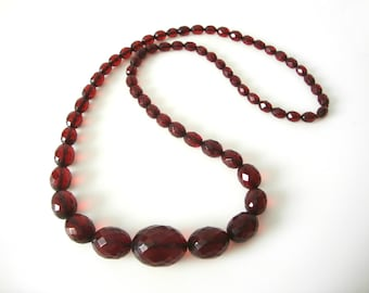 Red Cherry Bakelite Graduated Faceted Bead Necklace