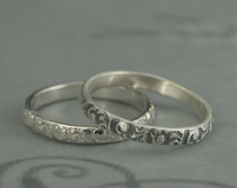 Rococo Band--Thin Sterling Silver Swirl Patterned Wedding Bands or Stacking Rings--Silver Embossed Wedding Band--Made in YOUR size