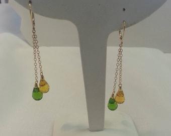 Crystal Dangle Earrings 10 Karat Gold Yellow Green Crystal Vintage Tracy B Designs Custom Jewelry Repair