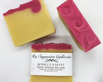 Savon Mangue-Papaye, Savon artisanal fait main 100% naturel, Mango Papaya, Cold process All Natural Handmade Soap