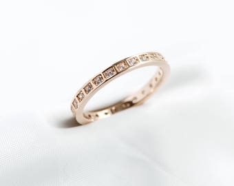 Rose Gold Dainty Ring, Eternity Band, Wedding Ring, Promise Ring, Engagement Ring, Stackable Ring, Minimalist Ring, Rose and Choc Jewelry