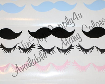 10 sets of lashes & 10 mustache vinyl decals. Gender reveal, Lashes or staches, Birthday Party, Boy Girl Party, His and her, Shower. B30 C99