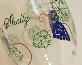 Grapes Vines Red White Wine Glasses Goblets Personalized Painted Barrel Tasting Vineyard Winery Fair Leaf Leaves Purple Concord Blue Green