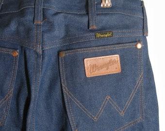 Deadstock Wrangler Jeans 80's Vintage, Men's 13MWZ Straight Leg, Indigo Rigid Denim Made In USA Western Cowboy Fit, Wash in Cheer, 29 W 31 L