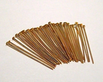 "Gold Plated Headpins - 1"" - 24g - (36)"