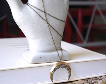 PYRITE MOON NECKLACE