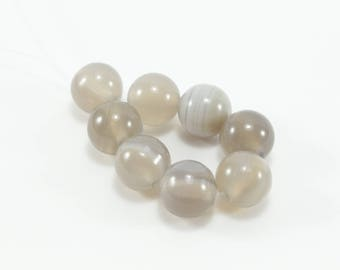 10 natural Agate beads 8mm smoky gray