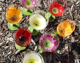 Hand painted Gerbera daisy wine glass