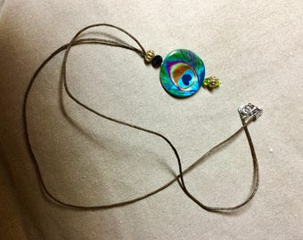 Necklace link turquoise Peacock feather beads Brown