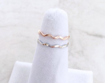 Wavy Ring, Minimalist ring, Dainty ring, stackable ring, thin silver ring, stacking ring, Silver Rings