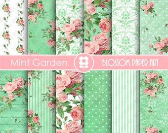 Roses in Mint Digital Paper, Garden Shabby Chic Digital Paper Pack, Wedding, Scrapbooking, Pink Vintage Roses - INSTANT DOWNLOAD  - 1868