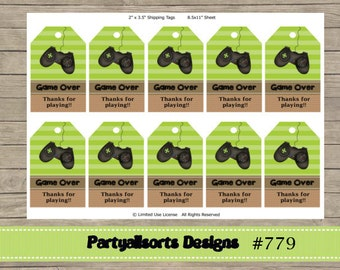 00 DIY - Game Over/Games Gift Tags/ Thank You/Favor Tags