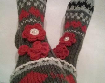 Hand knit over knee socks, hand knitted socks, flower knee socks, Flower socks, rainbow socks, woman leg warmers, knitting flowers sock