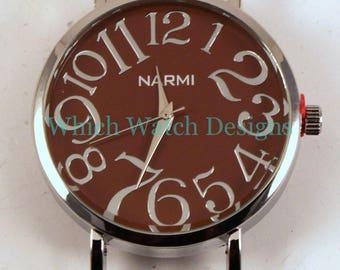 Large Round.. Big and Bold Solid Bar Watch Face, Silver Plated, Pink, Green, Brown, Brushed Silver