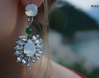 ULTIMATE SALE Odette - Opal Swarovski Crystals Statement Earrings - Ready to Ship