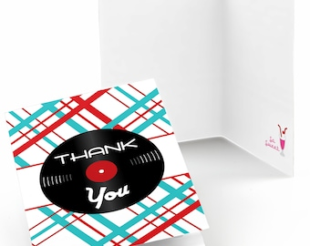 50's Sock Hop Thank You Cards - 1950s Rock N Roll Party Supplies - Fifties Party Thank You Cards - Shake, Rattle & Roll Party - 50s -8 Count